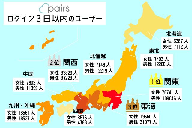ペアーズ(pairs) 会員数 全国 一覧表